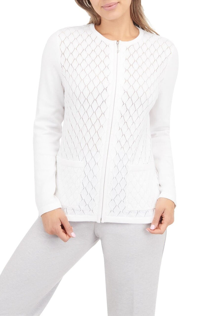 Diamond Pattern Zip Front Crew Neck Cardigan - Plus