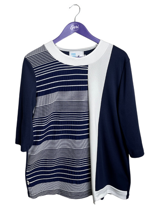 Navy & White Striped 3/4 Sleeve Top