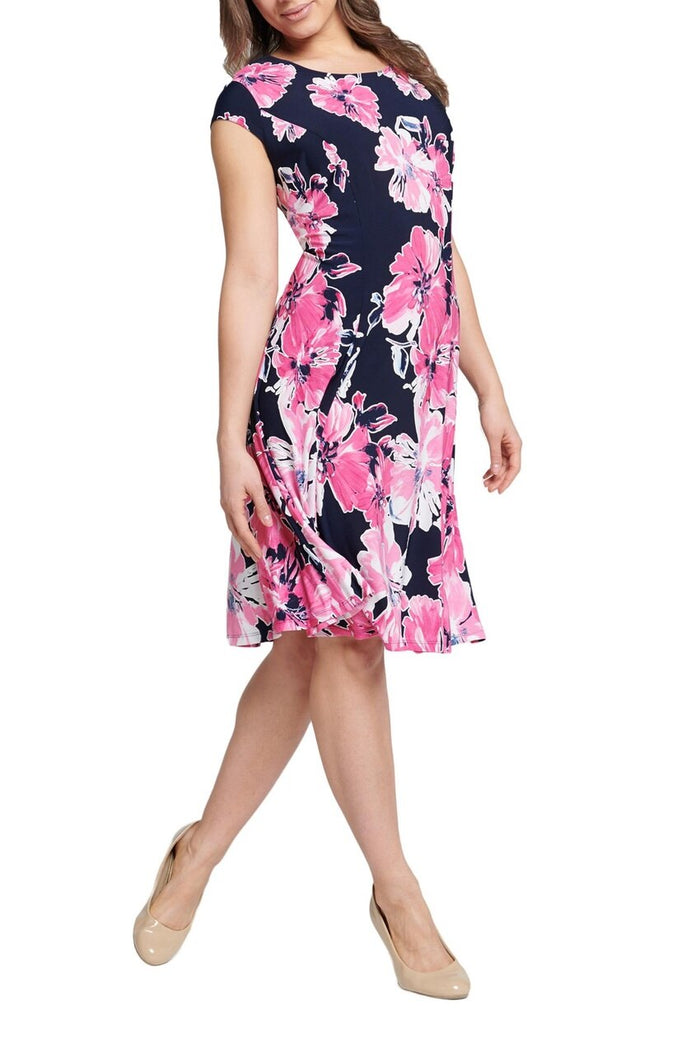 Floral Puffed Print Fit & Flare Dress