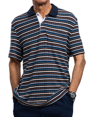 Navy & Caramel Striped Adaptive Polo