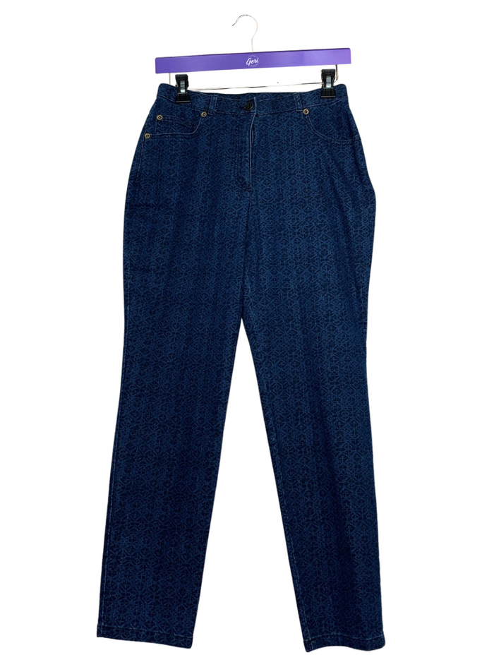 Petite Printed Denim 5-Pocket Slim Leg Jeans