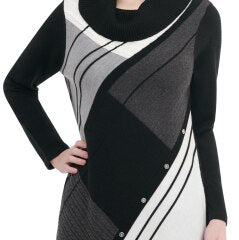 Colour Block Acrylic Cowl Neck Sweater