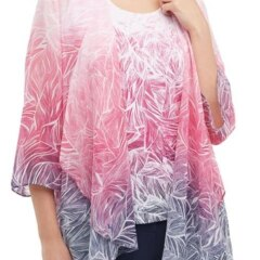 Feather Ombre Printed Georgette Drape Front Cardigan