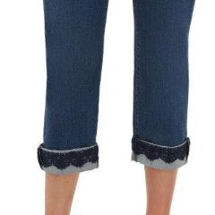 Stretch Denim Pull On Lace Cuff Capri