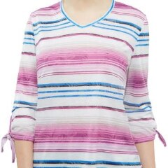 Ombre Leaf Stripe Jersey Top With Tie Sleeves