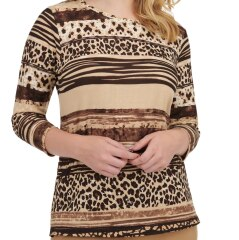 Embellished Animal-Printed Striped Jersey Top