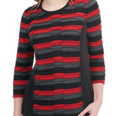 Striped Pucker Knit Side Panel Top