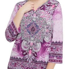 Paisley-Printed Jersey Split Neck Tunic