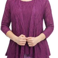 Lacey Knit Drape Front Cardigan