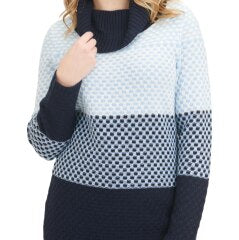 Color Block Acrylic-Blend Cowl Neck Sweater