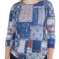 Embellished Patchwork-Printed Jersey Top