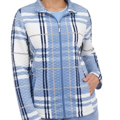 Petite Plaid Quilted Pillow-Touch Zip Front Jacket