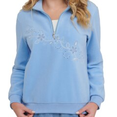 Petite Embroidered Microfleece Zip Neck Pullover