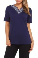 Embroidered V-Neck Jersey Shirt