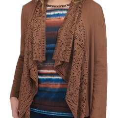 Petite Laser-Cut Lapel Stretch Suede Cascade Jacket