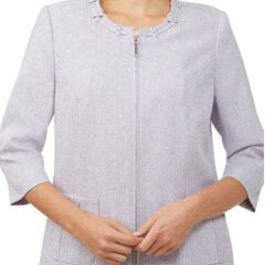 Linen Finish Embellished Zip Front Jacket