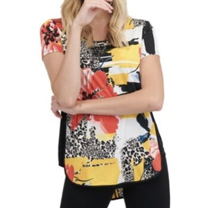 Floral & Animal Graffiti-Printed Knit Top with Side Panel