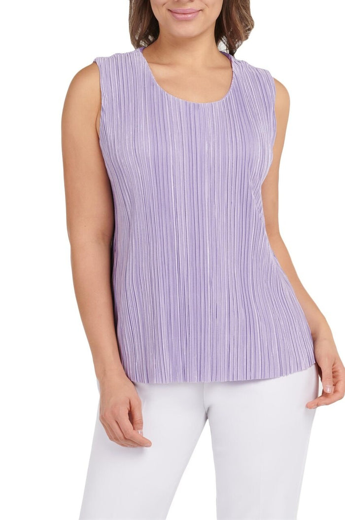Pleated Sleeveless Scoop Neck Tank Top