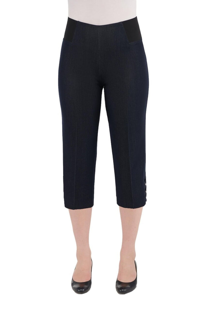 Pull-On Stretch Denim So Smooth Capri With Open Lattice Detail