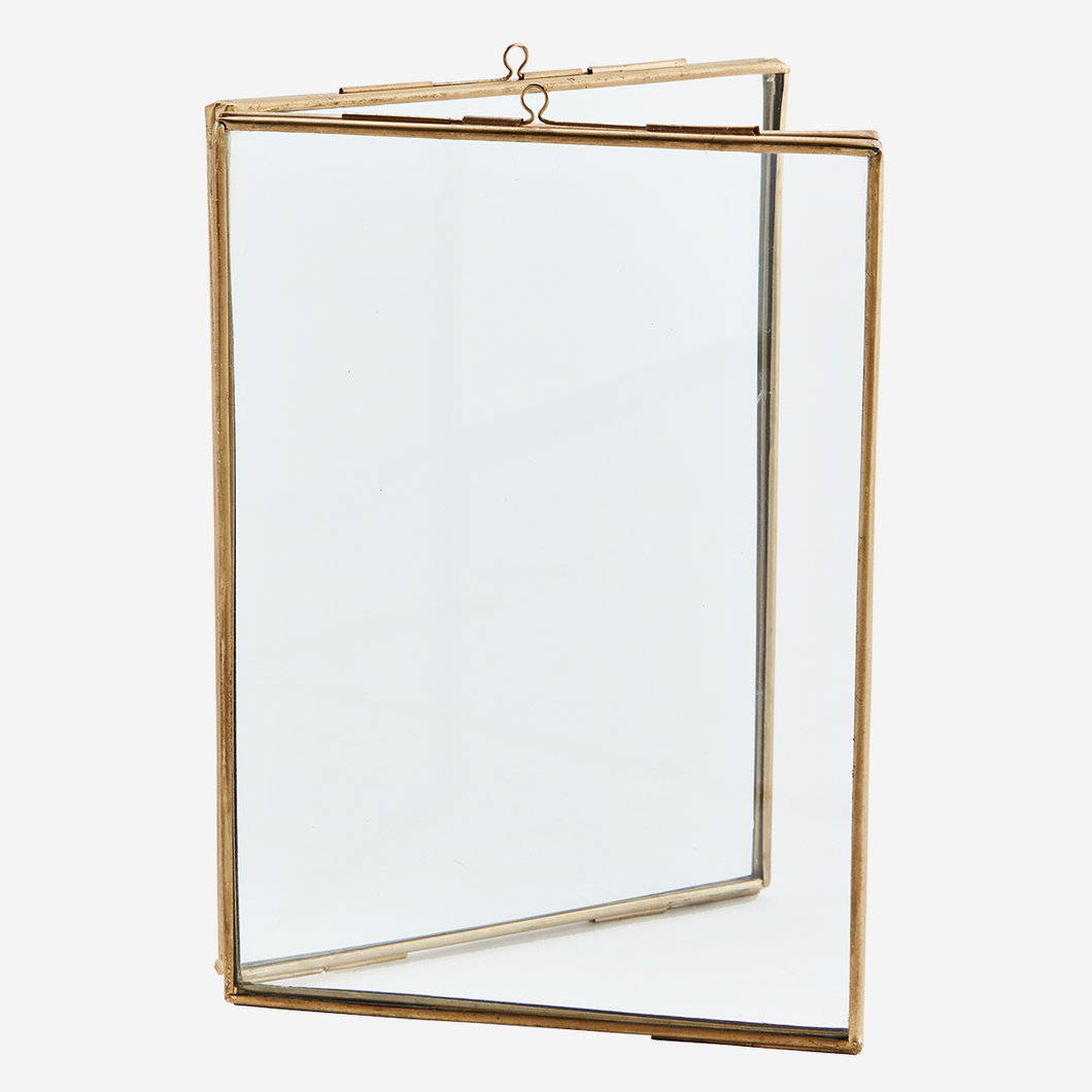 Standing Double Photo Frame, Brass