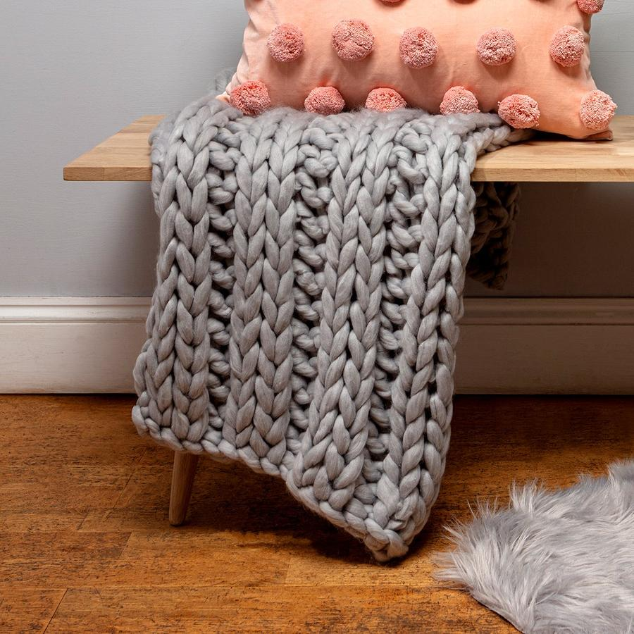 Grey Chunk Knit Throw