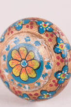 Load image into Gallery viewer, Blue & bronze hand painted wooden door knob