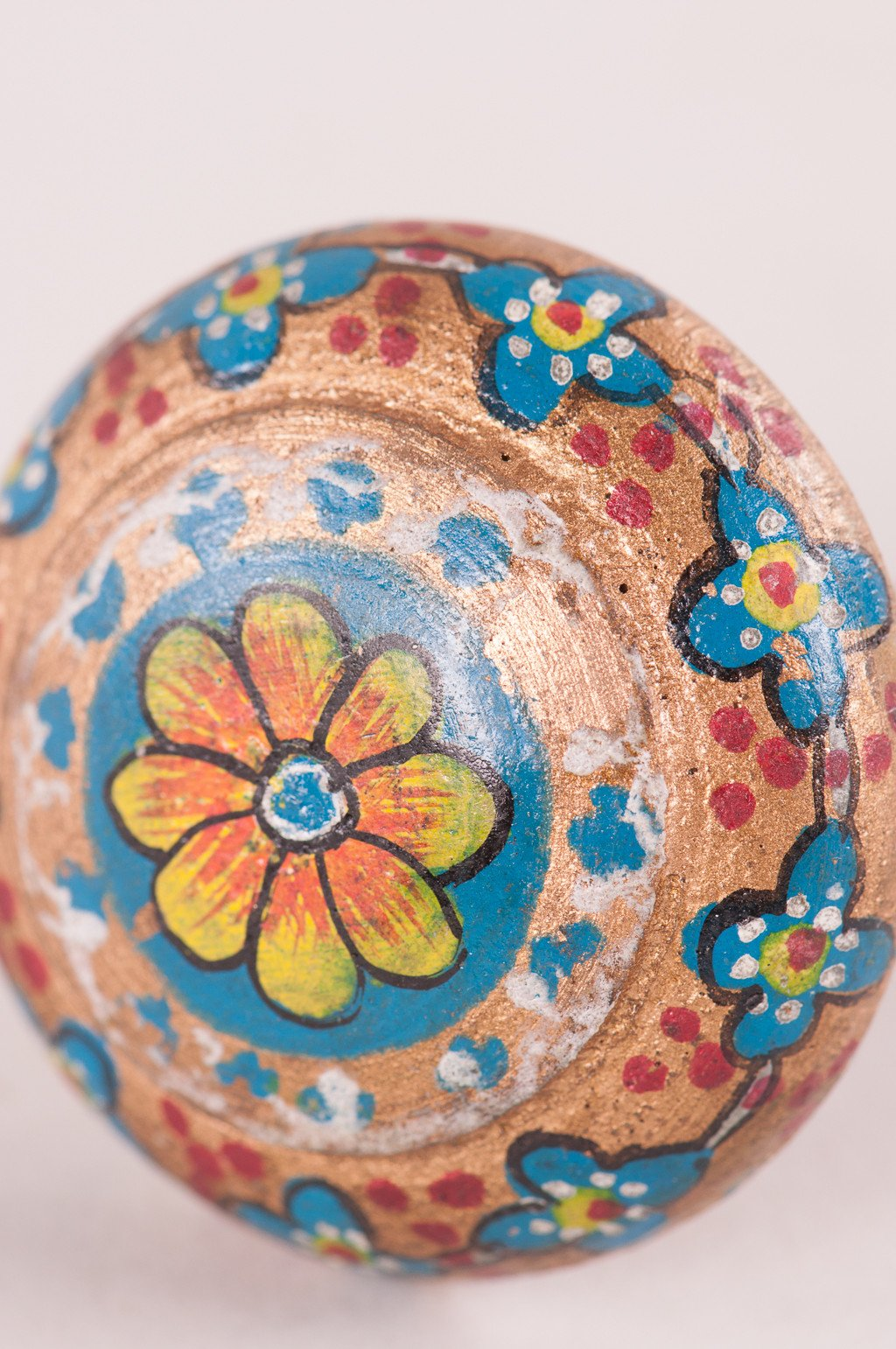 Blue & bronze hand painted wooden door knob