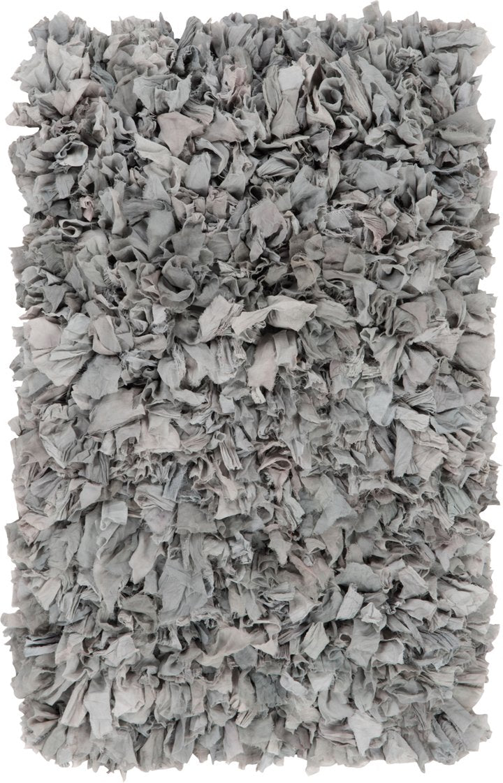 Grey recycled silk & crepe shaggy rug