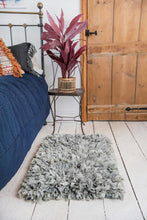 Load image into Gallery viewer, Grey recycled silk & crepe shaggy rug
