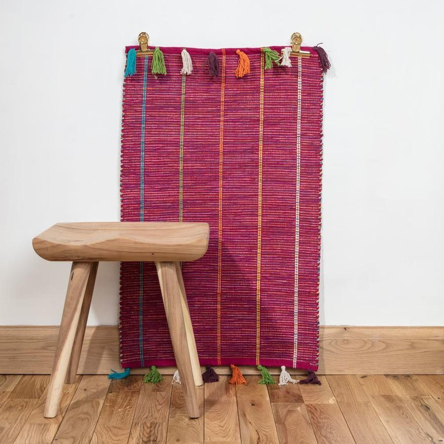 Large Fuschia Hand Woven Cotton Rug With Tassels