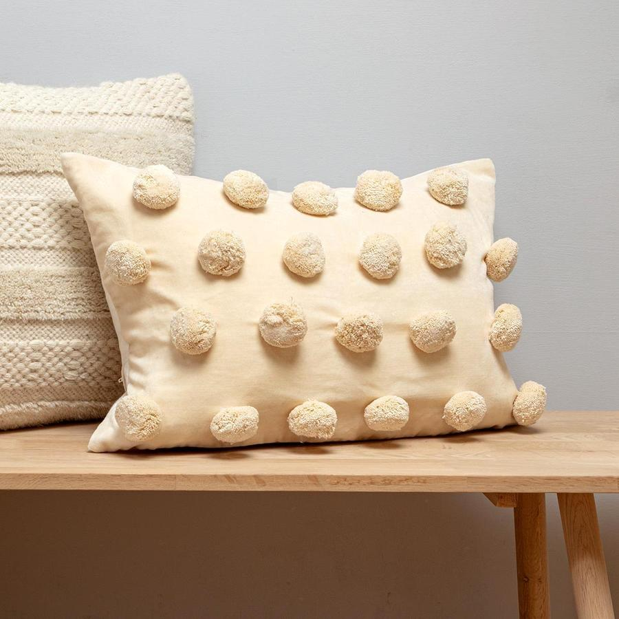 White Rectangular Pom Pom Cushion