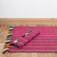 Load image into Gallery viewer, Large Fuschia Hand Woven Cotton Rug With Tassels