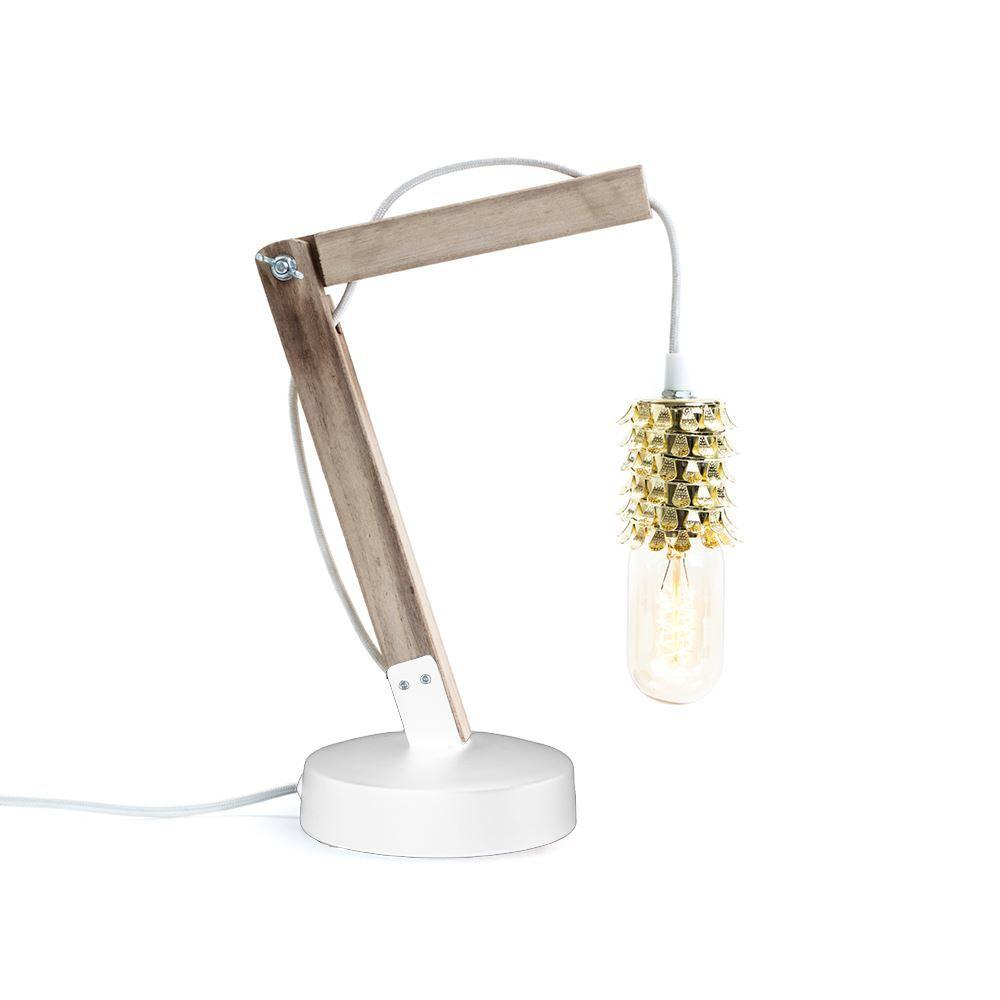 Wooden Crane & Gold Filigree Table Lamp