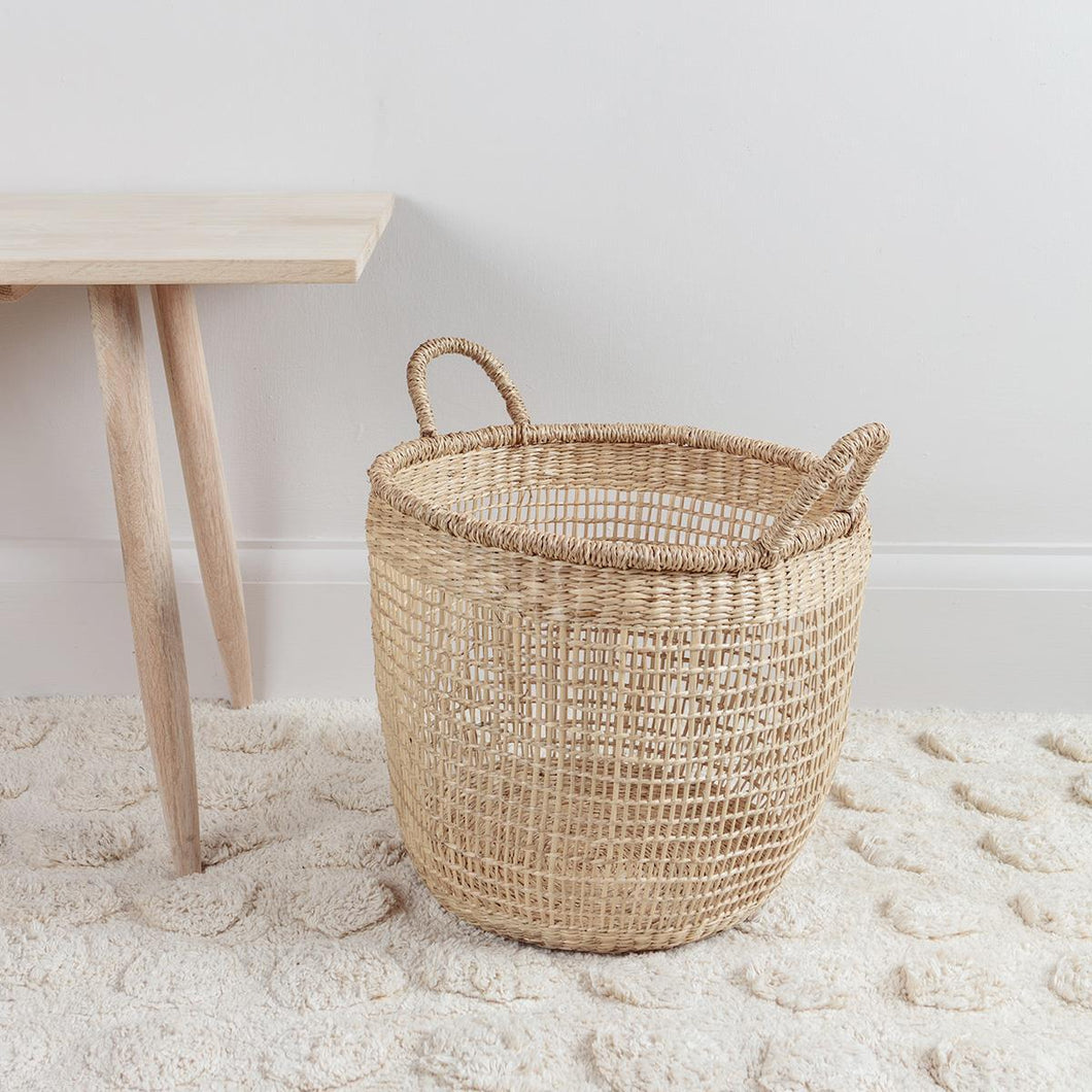 Woven Seagrass Basket with Handles