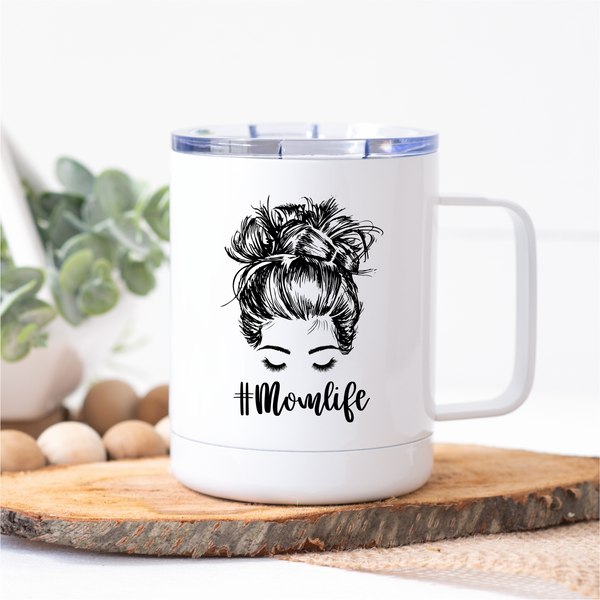 Mom Life Top Knot Metal Travel Coffee Tumbler