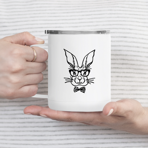 Hipster Bunny Metal Travel Coffee Tumbler
