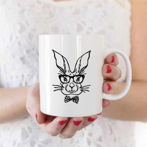 Hipster Bunny Ceramic Coffee Mug