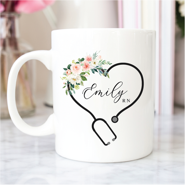 Nurse Coffee Cup - Floral Stethoscope