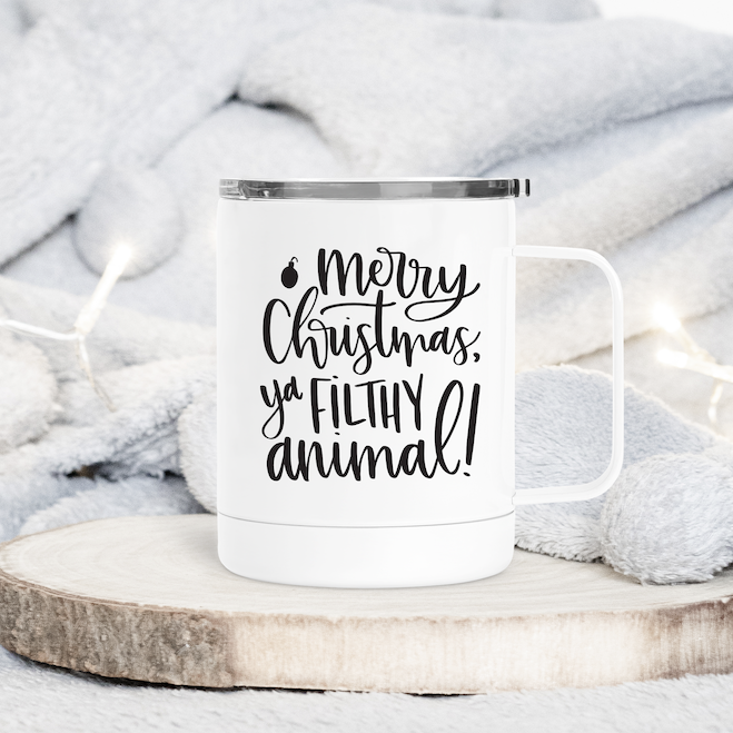 Merry Christmas Ya Filthy Animal Christmas Metal Travel Coffee Tumbler