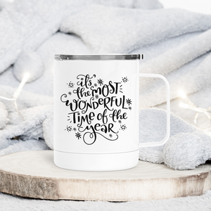Most Wonderful Time of the Year Christmas Metal Travel Coffee Tumbler