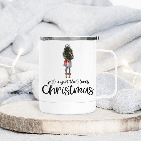A Girl Who Loves Christmas Metal Travel Coffee Tumbler