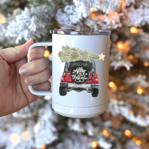 Merry Christmas Metal Travel Coffee Tumbler