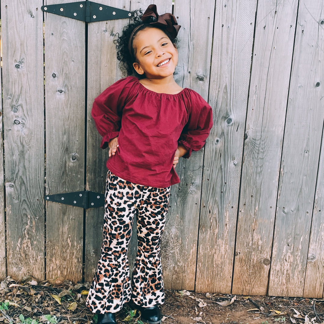 girls leopard bell bottom outfit