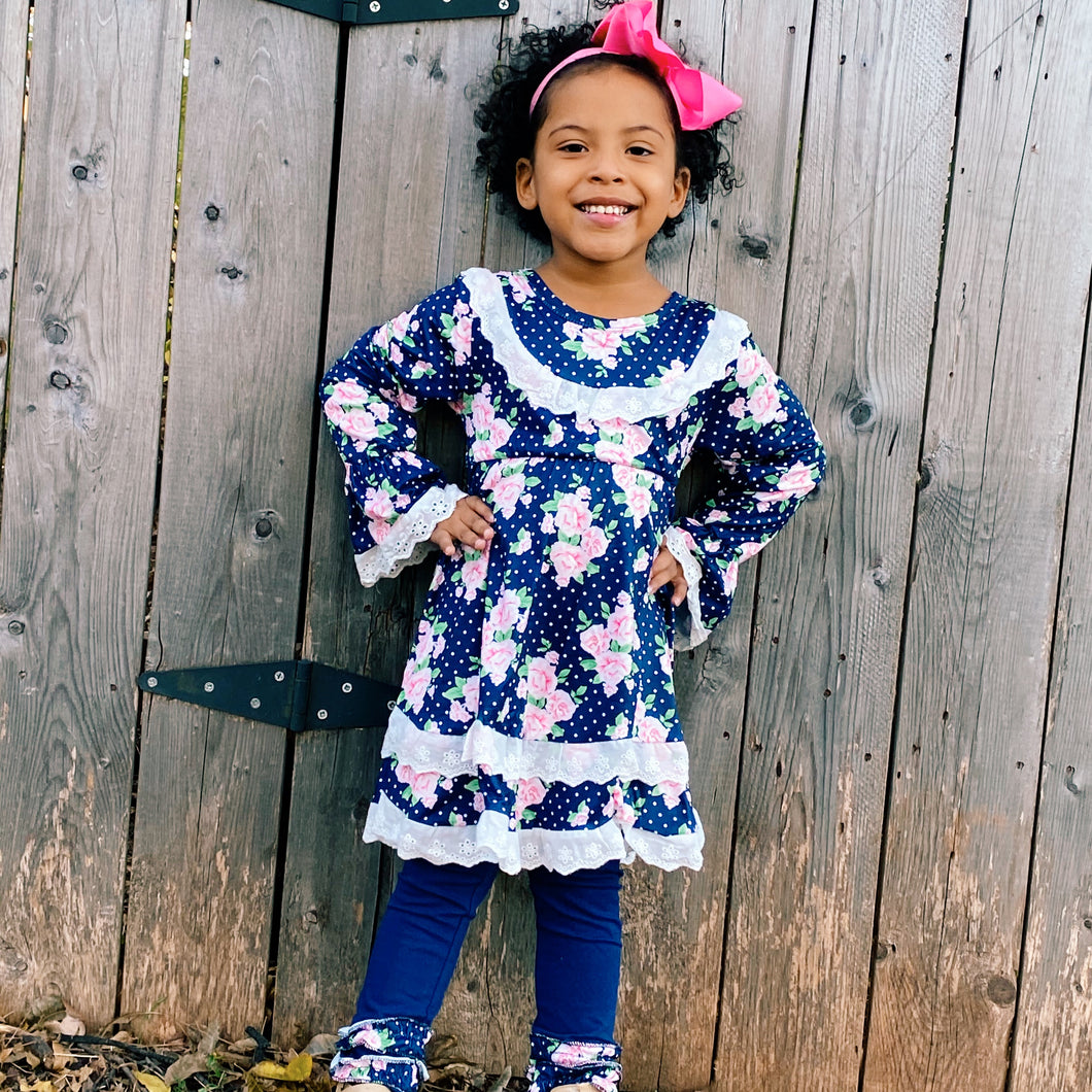 girls blue and pink floral dress outfit