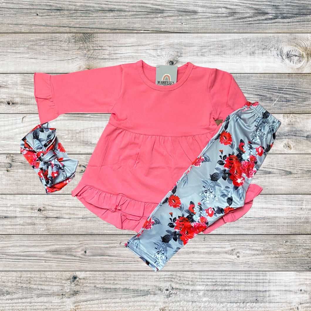 pink and floral girls outfit set