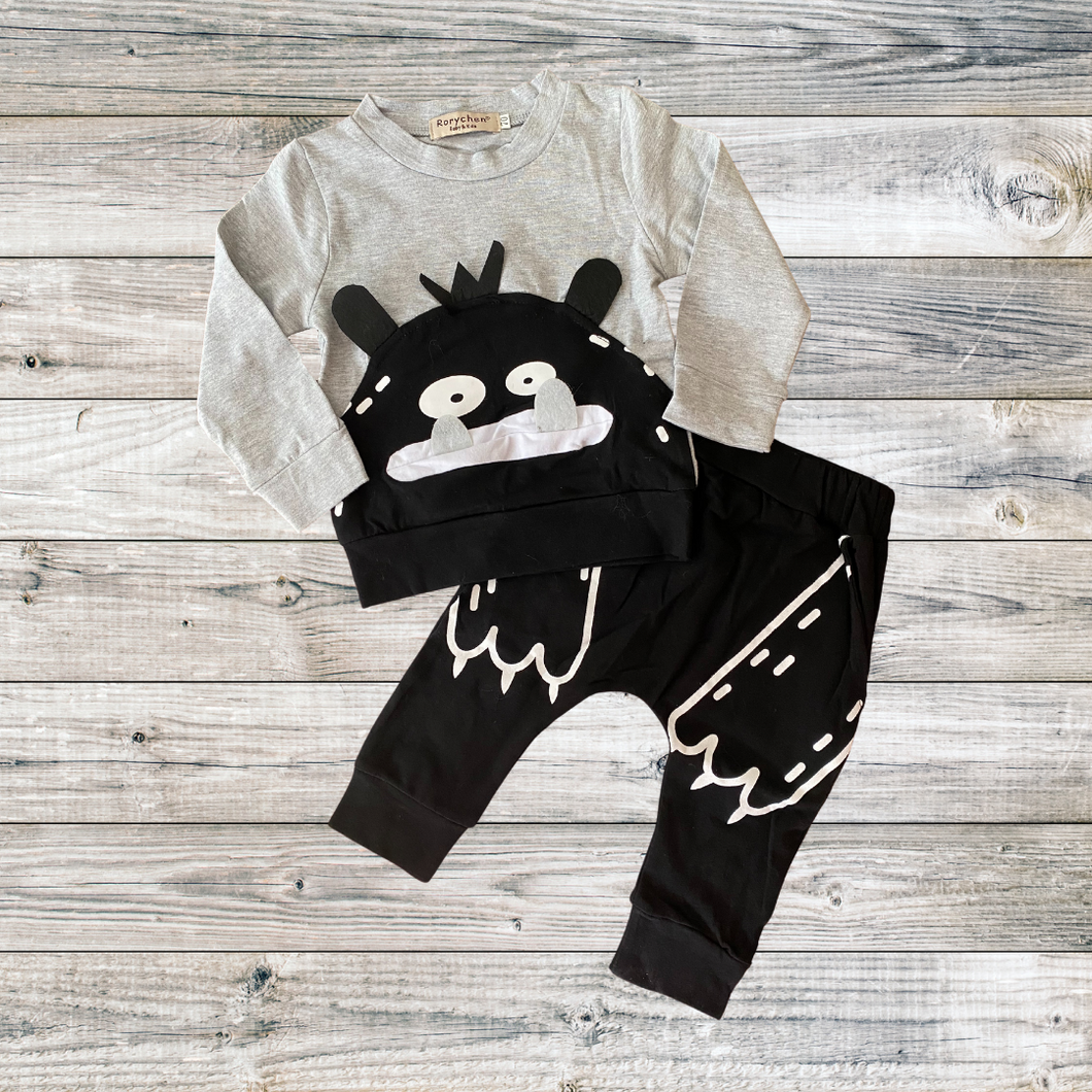 boys grey and black monster outfit