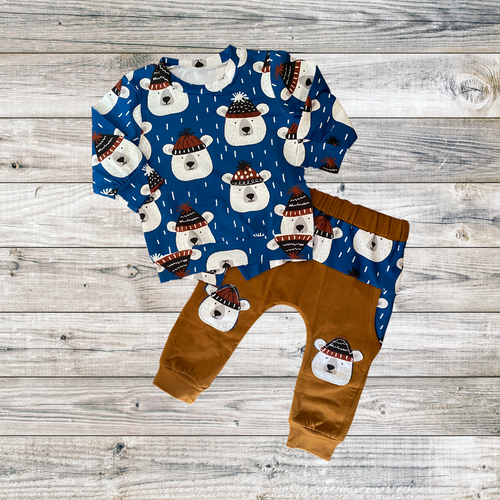 boys winter outfit with polar bears