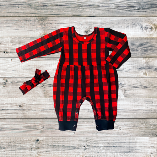 red plaid winter romper and headwrap for babies