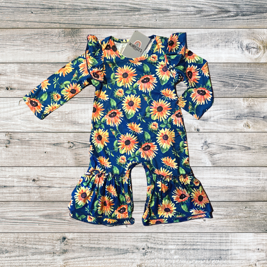 blue sunflower rompers for baby girl