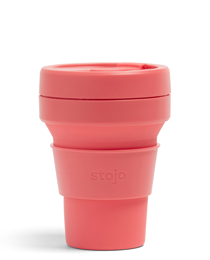 12oz Coral Pink Collapsible Coffee Cup